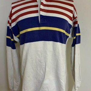 Vtg LL Bean Rugby Polo Long Sleeve Striped M